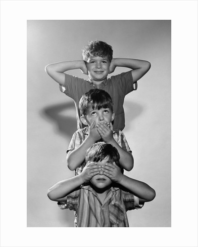 1960s Portrait Of 3 Boys Miming Hear See Speak No Evil by Corbis