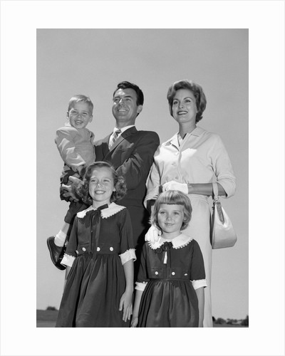 1960s Portrait Family Father Mother Two Daughters Son Standing Together Outdoors by Corbis