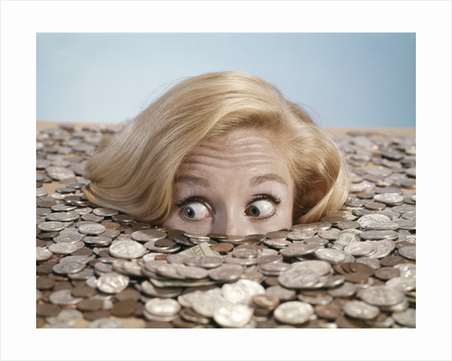 1960s Startled Bug-Eyed Young Woman Buried Up To Her Nose In Pile Of Coins And Currency by Corbis