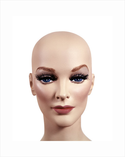 Symbolic Portrait Of Woman Mannequin Head Without Hair 1970s Style Make-Up Studio Indoor by Corbis