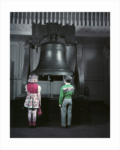 1950s Two Little Kids Stand Before Liberty Bell When Still In Independence Hall by Corbis