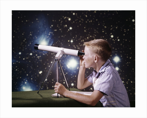 1960s Composite Boy With Telescope On Table Looking At Night Sky With Stars Galaxy Nebula by Corbis