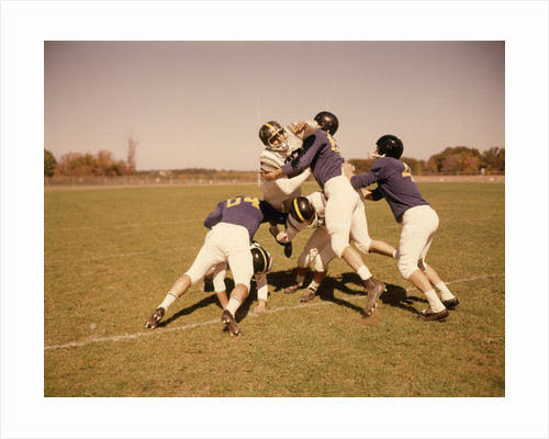1960s Six Football Players Running Blocking Tackling On Scrimmage Field by Corbis