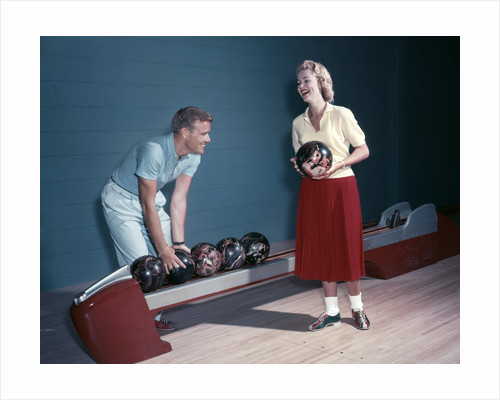 1950s Laughing Couple Man Woman Bowling by Corbis