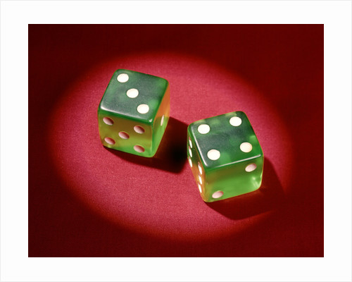 1960s Lucky 7 Green Dice Showing Number 4 Four And 3 Three Symbolic Winner by Corbis