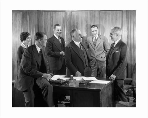 1930s Office Group Four Men One Woman Boss Smoking Cigar Talking Meeting Fifth Man by Corbis