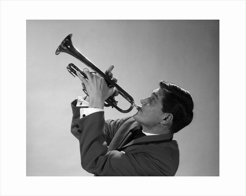 1960s 1970s Man Jazz Musician Playing Trumpet Solo by Corbis