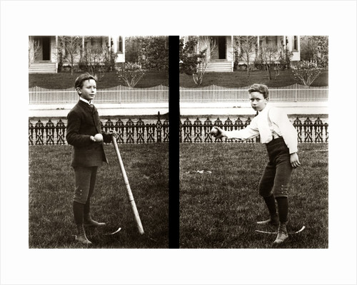 1890s 1900s Two Images Of Boy In Knickers Holding Baseball Bat And Pitching Ball by Corbis