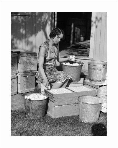 1930s Woman Farm Wife Sitting Outside Of Hen House Doorway Putting Eggs From Pails Into Shipping Crates by Corbis