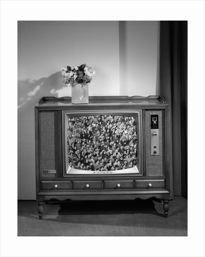 1960s Head-On View Of Tv Set With Crowds In Bleachers On Screen by Corbis