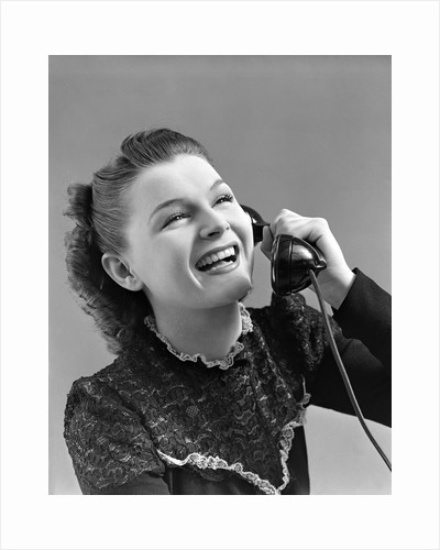1940s Woman Talking Laughing On Telephone by Corbis