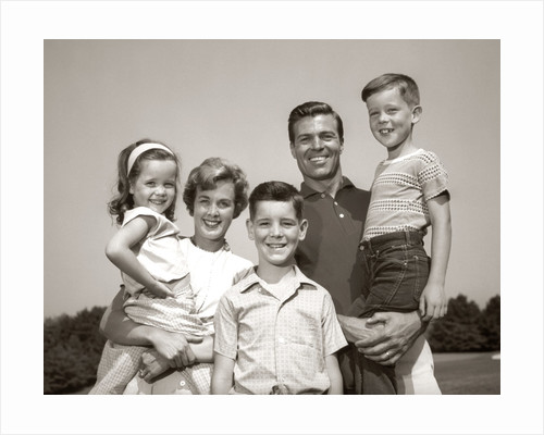 1960s Family Portrait Outdoors Father Mother Three Children by Corbis
