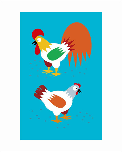 rooster and hen by Corbis