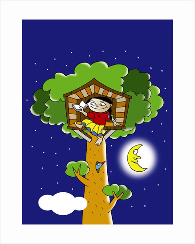 girl reading in a tree house at night by Corbis