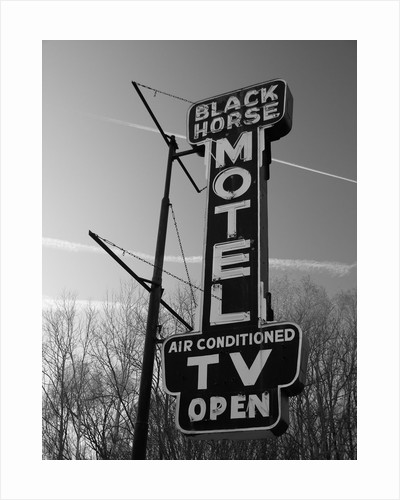 1950s 1960s Old Motel Art Deco Style Neon Electric Sign In Black And White by Corbis