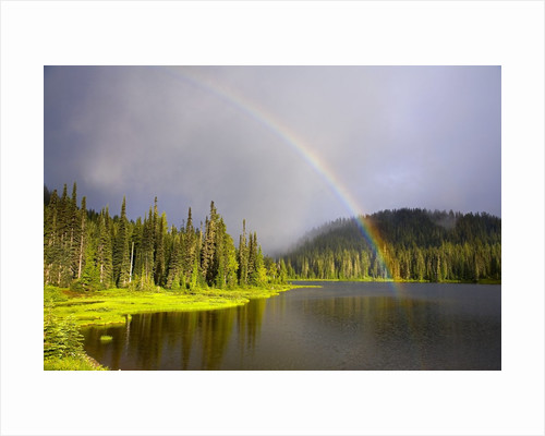 Rainbow Over Reflection Lakes in Mt. Rainier National Park by Corbis