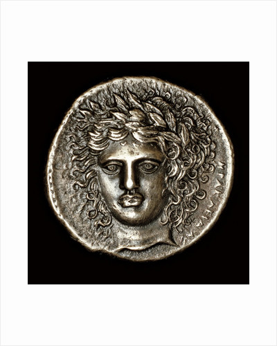 Ancient Greek Silver Tetradrachm with Head of Apollo by Corbis