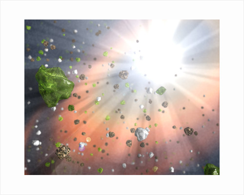 Artist's Conception of Dust in a Quasar Wind by Corbis