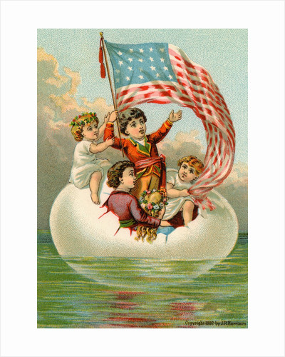 Postcard with Children in Egg Holding American Flag by Corbis