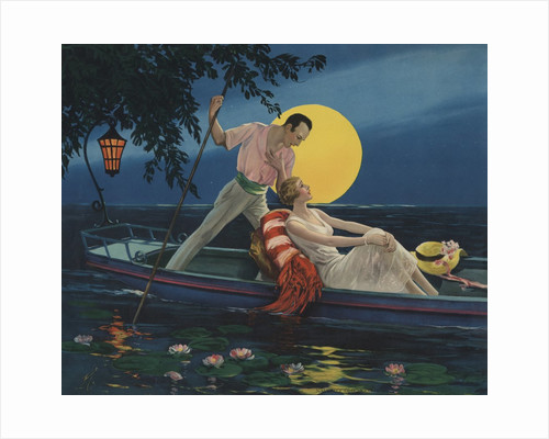 Calendar Illustration of Man Singing to Woman in Boat by Corbis