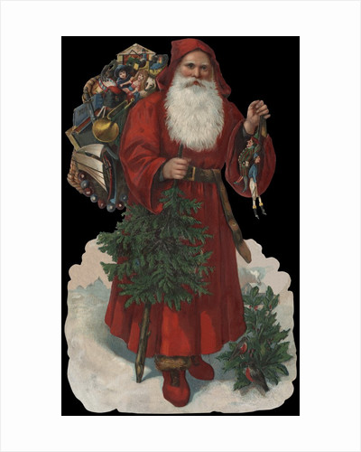 Die-Cut Scrap with Old-Fashioned Santa Claus by Corbis
