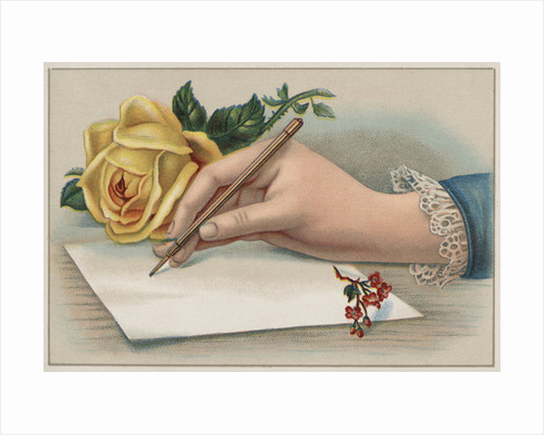 Bookplate Illustration of Woman's Hand Writing Letter by Corbis