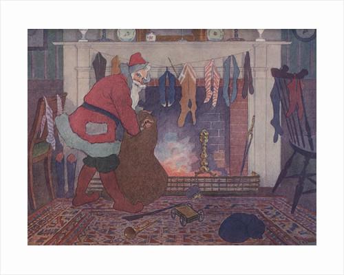 Illustration of Santa Filling Christmas Stockings by E. Boyd Smith