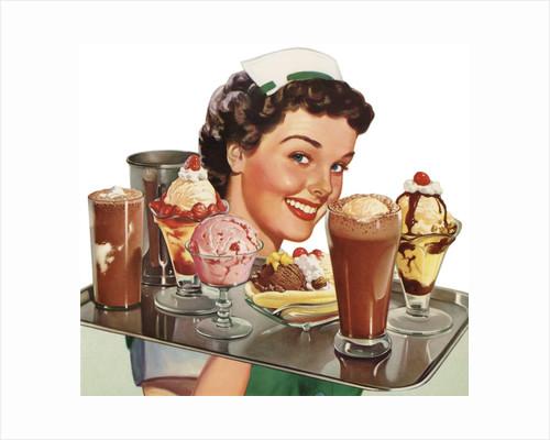 Menu Illustration of Waitress Carrying Ice Cream Desserts by Corbis