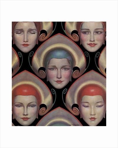 Magazine Illustration of Female Masks by W.T. Benda