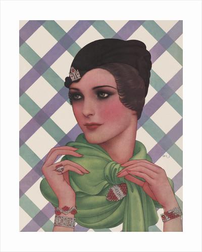 Magazine Illustration of Woman Wearing Green Scarf by Dynevor Rhys