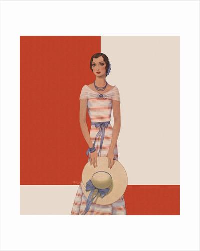 Magazine Illustration of Woman Wearing Striped Dress by Dynevor Rhys