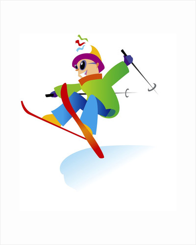 Freestyle Skiier Jumping up by Corbis