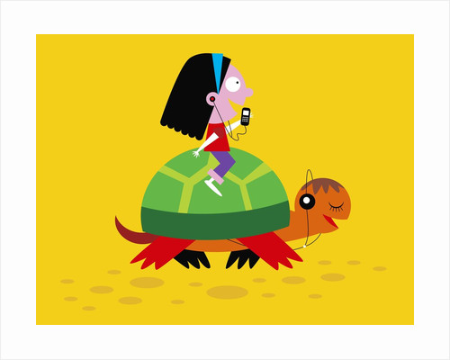 Girl riding on a turtle and listening to music by Corbis