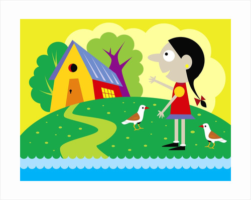 Girl and birds with house by Corbis