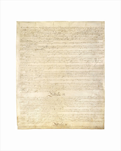 Page Three of the Constitution of the United States by Corbis