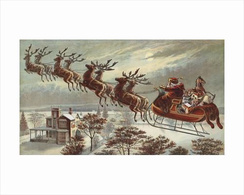 Book Illustration of Reindeer Pulling Santa's Sled by Corbis