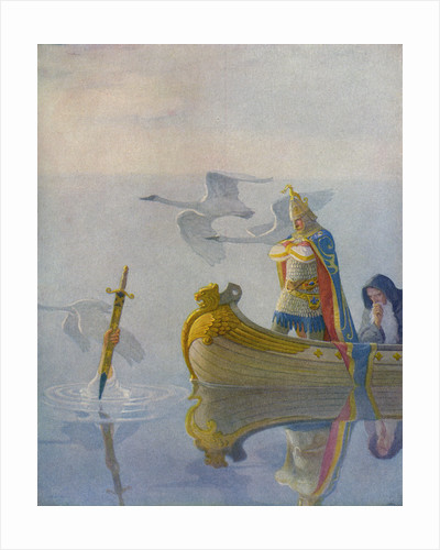Illustration of King Arthur Receiving Excalibur from the Lady of the Lake by N.C. Wyeth