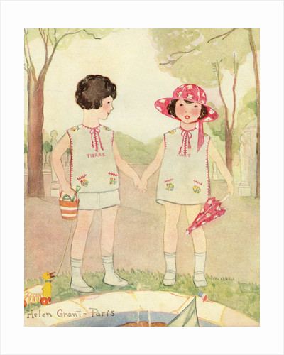 Illustration of Boy and Girl in Park by Helen Grant