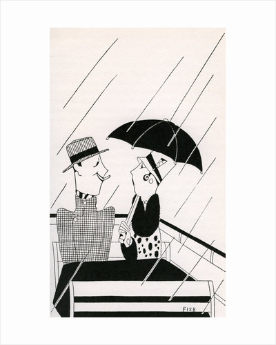 Illustration of Couple on Rainy Roof of Double-Decker Bus by Anne Harriet Fish