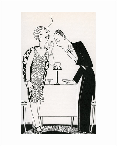 Illustration of Couple Smoking After Dinner by Anne Harriet Fish