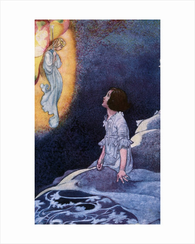 Illustration of Girl Awoken by Vision of Fairy by Charles Robinson