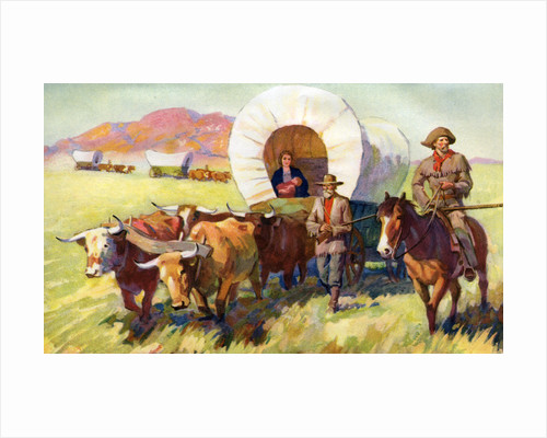 Illustration of Wagon Train of American Settlers Moving Across Western Plains by Corbis