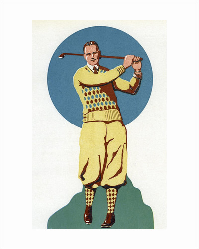 Illustration of Man Golfing by Corbis