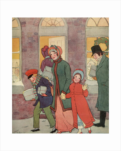 Illustration by Victorian-Era Family Carrying Packages by Corbis
