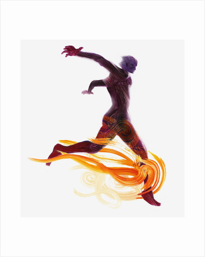 Runner and Flames by Corbis