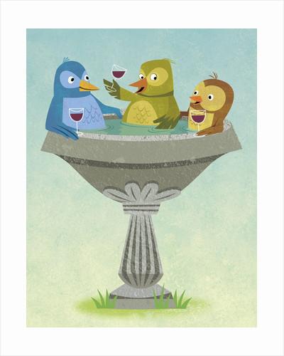 Birds Relaxing and Sipping Wine in Birdbath by Corbis