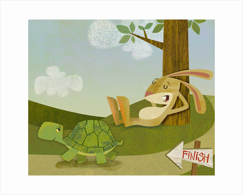 Tortoise Passing a Sleeping Hare by Corbis