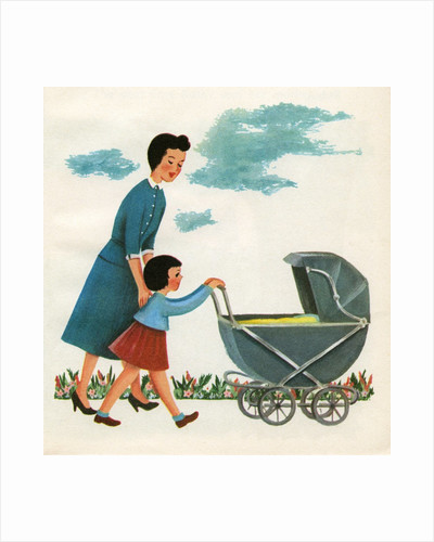 Illustration of girl pushing baby carriage by Corbis