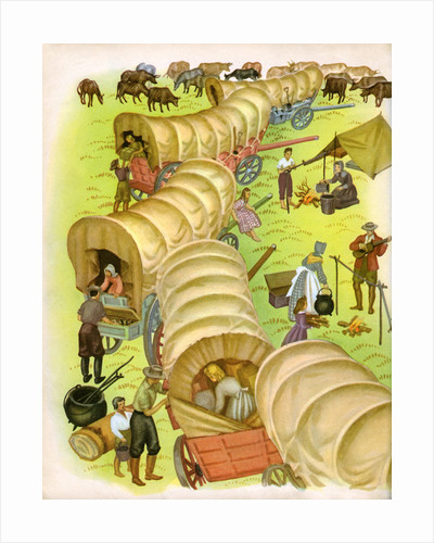 Illustration of pioneer wagon camp by Janice Holland