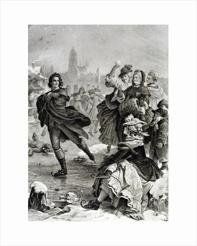Illustration of Friederich Schiller skating on ice by Corbis